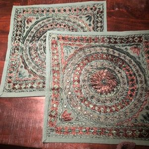 New Dark Green Boho Embroidered Covers (Set of 2)